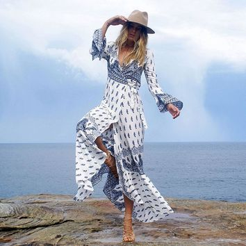 Long Sleeve Boho Wrap Maxi Dress (7 Patterns)