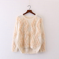 Of mohair Personality tassel o-neck long sleeve Knitting pullover Sweaters    sweater