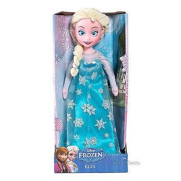 "Licensed cool 14"" FROZEN ICE QUEEN ELSA PLUSH Stuffed Rag Doll wears Beautiful Dress Gown NEW"