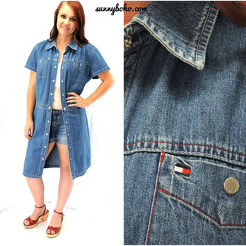 90s Tommy Hilfiger denim duster dress M L short sleeve denim duster boho jean dress snap front denim dress SunnyBohoVintage