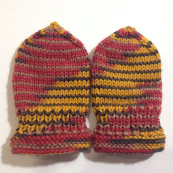 Hand knitted baby thumbless mittens newborn 0-24 months olds mittens, baby girl or baby boy wool yarn multicolor