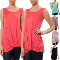 Sleeveless Jersey Draped Scrunched Front Twist Detail Hi-Low Hem Tunic Tank Top