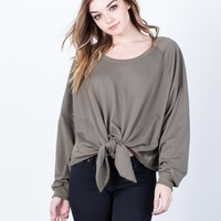 Oversized Front Tie Sweater