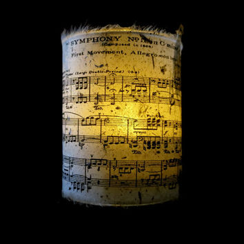 Candle holder/ luminary with mango leaf paper The Symphony No. 5 in C minor of Ludwig van Beethoven sheet music