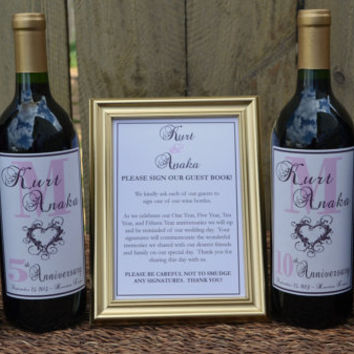 Wedding Guest Book Wine Bottle Guestbook Kit Wedding Wine Labels Customized Labels Guestbook Kit Wine Label Guestbook Personalized Labels