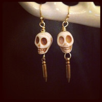 Skull stone and bullet earrings by miskwill on Etsy