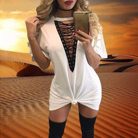 11 colors 2016 summer women t shirt mini tie-up dress black white bodycon sexy club tshirt tops tee plus size vestidos de festa