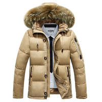 Men's Jacket 2015 Winter New Men'S 90% Duck Down Jacket With Hooded Brand Natural Fur Collar Sports Casual Jacket Coat