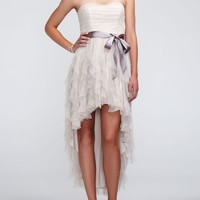 Strapless High Low Dress with Ruffled Skirt - David's Bridal