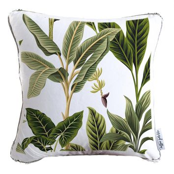Tropical Vintage Trees Decorative Throw Velvet Pillow w/ Silver & White Reversible Sequins   COVER ONLY (Inserts Sold Separately)