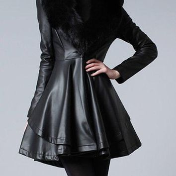 Casual Plain Fur Collar Fascinating Imitation Leather Overcoats