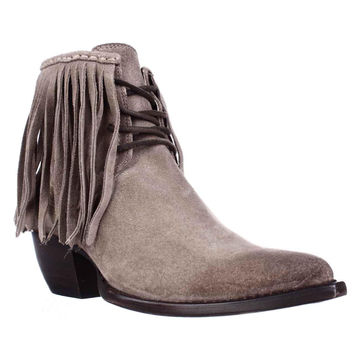 FRYE Sacha Fringe Chukka Lace Up Pointed Toe Ankle Boots, Ash, 7.5 US