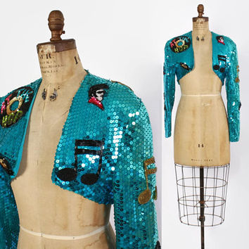 Vintage 80s SEQUIN JACKET / 1980s Cropped Novelty Elvis Sock Hop Records Turquoise Trophy Glam Bolero