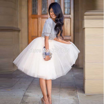 2016 Fashion Delicate 5 Layers Women Knee Length Summer Adult Tutu Tulle Skirts For Wedding Party Plus Size Vestidos