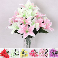 New Silk Flower Artificial Lilies Bouquet 10 Heads Home Wedding Floral Decor