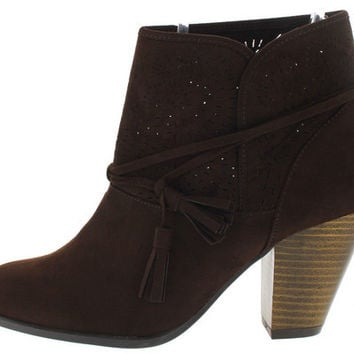 SALTY23 BROWN LASER CUT TASSEL ANKLE BOOT