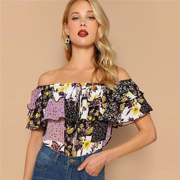 Multicolor Off Shoulder Layered Foldover Colorblock Floral Blouse Vacation Ruffle Drawstring Women Beach Tops