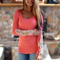 Lace Sleeve Top in Coral