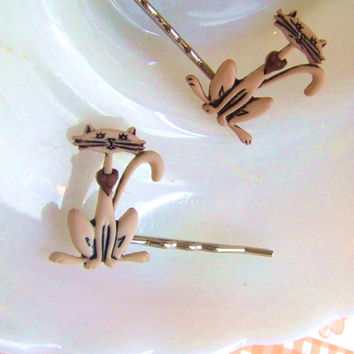 Tabby Cat Bobby Pins - Plastic Bobby Pins - Alley Cat Bobby Pins - Kitten Hair Clip - Kitty Cat Bobby Pins - Hair Accessories