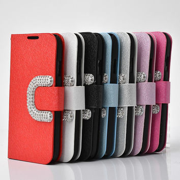 Luxury iphone 4 case wallets iphone 5 flip case leather iphone 5c case otterbox iphone 4s covers stud diamond iphone 5s flip case free gift