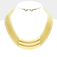 """16"""" gold mesh tube layered necklace .30"""" earrings 1.25"""" wide"""
