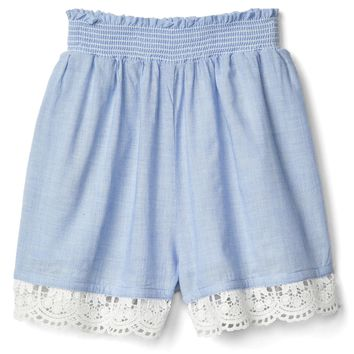 Crochet-trim pull-on shorts | Gap