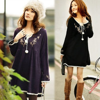 Fashion Vintage  Embroidery Laciness Knitted One-piece Maternity Dress New8H A_L (Size: One Size, Color: White) = 1958199236