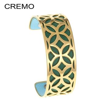Cremo Star Stainless Steel Bangle Bracelet Argent Bijoux Femme Manchette Manchette Arm Hand Cuffs Reversible Strip Gold Jewelry