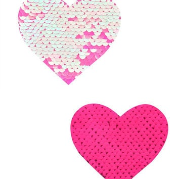 Aurora Light Pink & Pink Reversible Sequin Heart Pasties