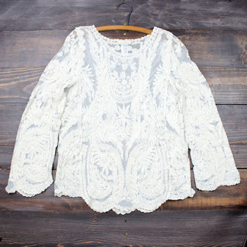 vintage inspired lace boho ivory top