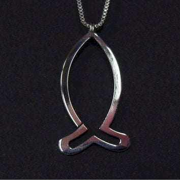 Silver High Gloss Hand Polished Ichthus Ichthys ΙΧΘΥΣ Greek Fish Outline Necklace - Saint Michaels Jewelry