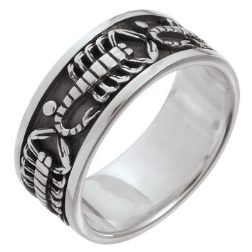 Scorpion Band Sterling Silver Ring
