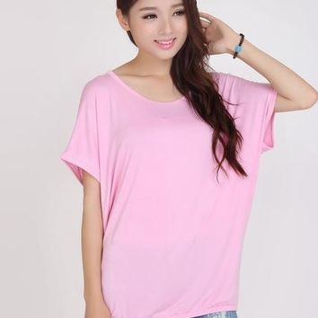 Tops and Tees T-Shirt 11 colors new 2018 plus size t-shirts women o-neck short batwing sleeve color modal cotton loose  tees girl clothing casual AT_60_4 AT_60_4