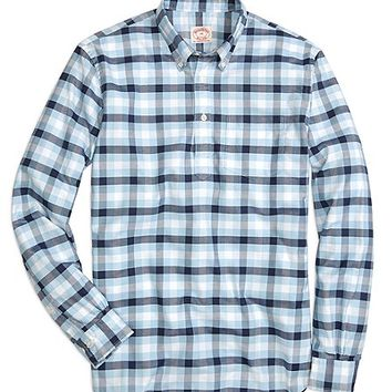 Navy with Light Blue Check Oxford Sport Shirt - Brooks Brothers