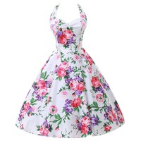 Grace Karin Halter Pinup Rockabilly Vintage Swing Dress Party Dress (S, 2)