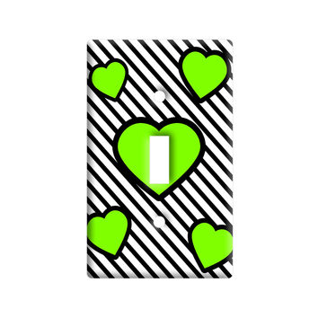 Love Cute Hearts Green Black Stripes Light Switch Plate Cover