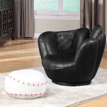 All Star 2 Piece Pack Chair & Ottoman,Baseball  Black and White