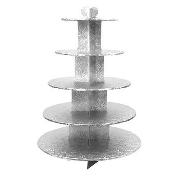 Enjay 5 Tier Silver Cupcake Stand