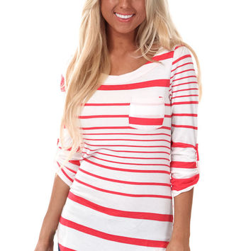 Coral Red Multi Stripe Pocket Top