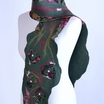 Green, floral nuno felt scarf in woodland style with many art flowers - pattern silk & wool, flower, felted shawl [S108]