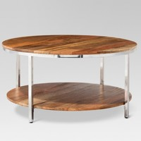 Berwyn Round Coffee Table Metal and Clear Wood - Threshold™