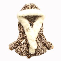 Trendy Baby Girls Faux Fur Leopard Hoodies Coat Kids Winter Warm Jacket Snowsuit