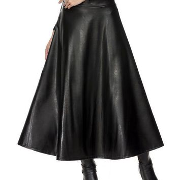 CREYHY3 Fashion women Faux Leather Skirt Maxi women High Waist Skirt women High Waist Skirt 61