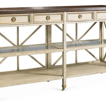 "Edward 60"" Console, Antiqued White/Brown, Console Table"