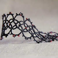 Lace bracelet, black charcoal and red, handmade tatting lace, victorian