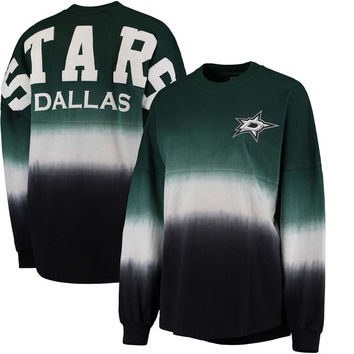 Women's Dallas Stars Fanatics Branded Green/Black Ombre Spirit Jersey Long Sleeve Oversized T-Shirt