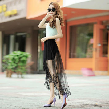 Women Sexy Long Lace Skirts Section Skirt Jupe Tulle Black and White Short Skirt Y06 SM6