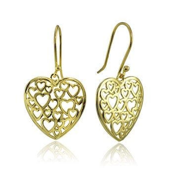 Open Heart Filigree Dangle Earrings in Gold Plated Sterling Silver