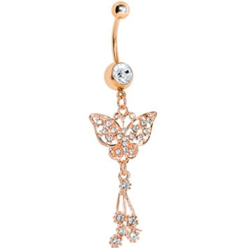 Rose Gold Plated Clear Gem Flower Carrier Butterfly Belly Ring | Body Candy Body Jewelry
