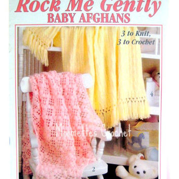 Vintage Crochet Pattern Book Baby Afghans Blankets Knit Crochet Patterns 6 Delicate Baby Blanket Rock Me Gently Leisure Arts 2542 Destash